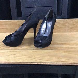 Black satin high heel formal shoes